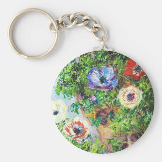 Anemones in Pot Claude Monet flower paint Basic Round Button Key Ring