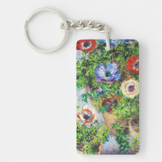 Anemones in Pot Claude Monet flower paint Double-Sided Rectangular Acrylic Key Ring