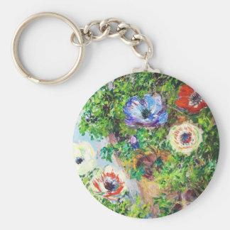 Anemones in Pot Claude Monet flower paint Basic Round Button Key Ring