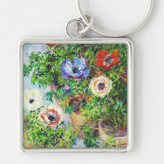 Anemones in Pot Claude Monet flower paint Silver-Colored Square Key Ring