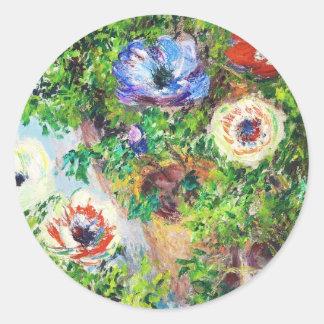 Anemones in Pot Claude Monet flower paint Stickers