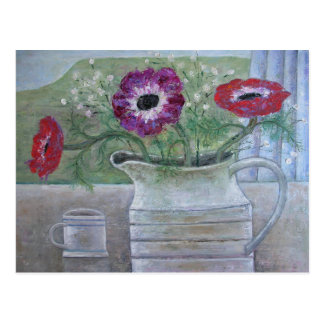 Anemones in White Jug 2013 Postcard