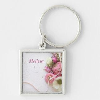 anemones, ranunculus, ribbon keychain