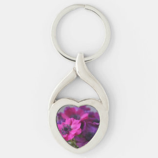 Anemones Silver-Colored Twisted Heart Key Ring