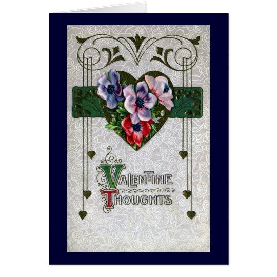 Anemones Vintage Valentine Card