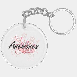 Anemones with flowers background Double-Sided round acrylic key ring