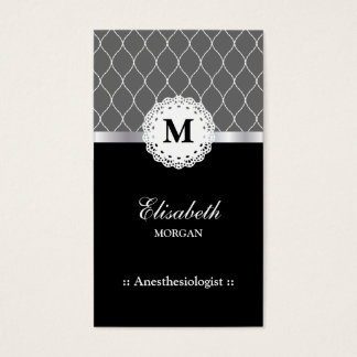 Anesthesiologist Elegant Black Lace Pattern Business Card