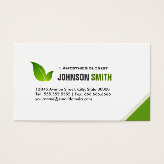 Anesthesiologist - Elegant Green Leaf Business Card