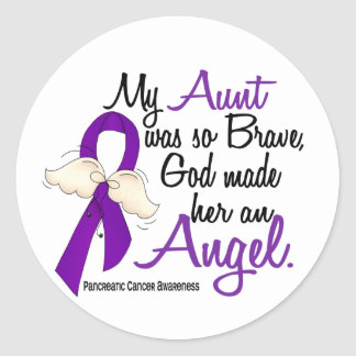 Angel 2 Aunt Pancreatic Cancer Classic Round Sticker