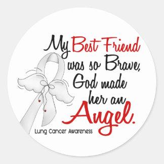 Angel 2 Best Friend Lung Cancer Classic Round Sticker