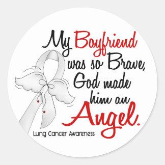 Angel 2 Boyfriend Lung Cancer Round Stickers