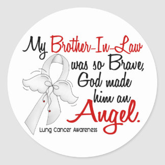 Angel 2 Brother-In-Law Lung Cancer Round Sticker