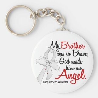 Angel 2 Brother Lung Cancer Basic Round Button Key Ring