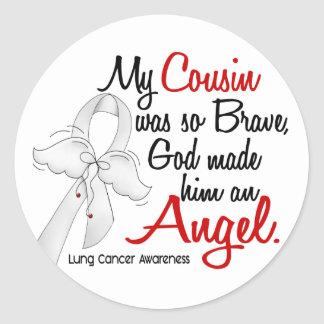 Angel 2 Cousin Lung Cancer Classic Round Sticker