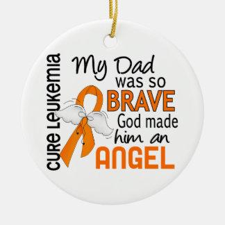 Angel 2 Dad Leukemia Round Ceramic Decoration