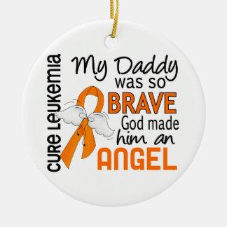 Angel 2 Daddy Leukemia Round Ceramic Decoration