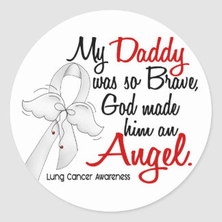Angel 2 Daddy Lung Cancer Classic Round Sticker