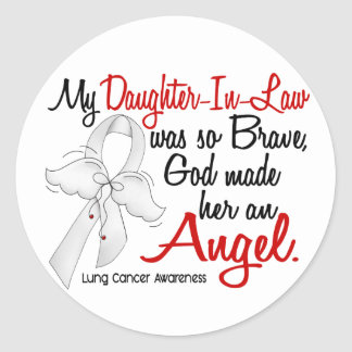 Angel 2 Daughter-In-Law Lung Cancer Classic Round Sticker
