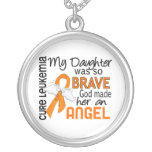 Angel 2 Daughter Leukaemia Round Pendant Necklace