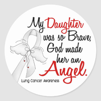 Angel 2 Daughter Lung Cancer Round Stickers