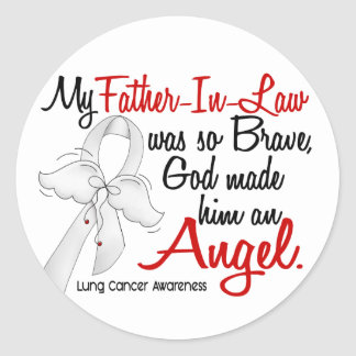 Angel 2 Father-In-Law Lung Cancer Round Stickers