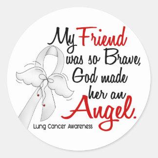 Angel 2 Friend Lung Cancer Round Sticker