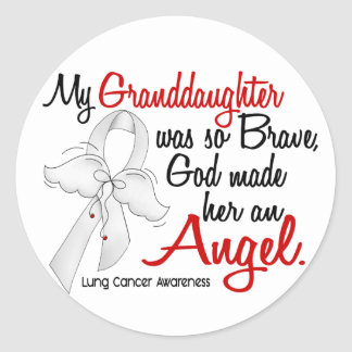 Angel 2 Granddaughter Lung Cancer Classic Round Sticker
