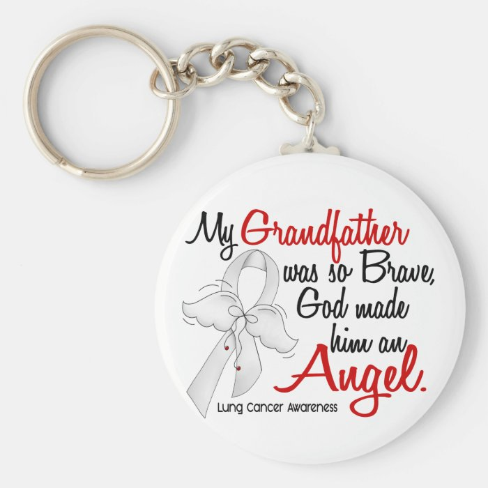 Angel 2 Grandfather Lung Cancer Basic Round Button Key Ring