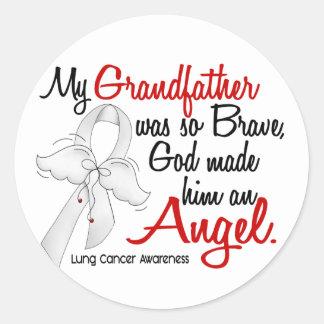 Angel 2 Grandfather Lung Cancer Round Sticker