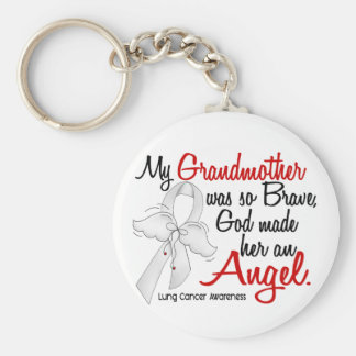 Angel 2 Grandmother Lung Cancer Basic Round Button Key Ring