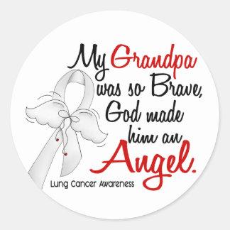 Angel 2 Grandpa Lung Cancer Round Sticker