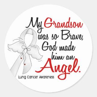 Angel 2 Grandson Lung Cancer Classic Round Sticker