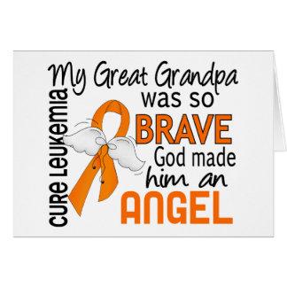 Angel 2 Great Grandpa Leukemia Greeting Cards