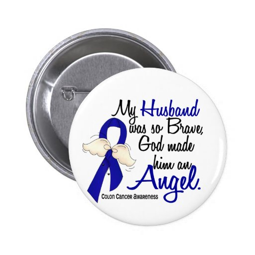Angel 2 Husband Colon Cancer Pinback Button