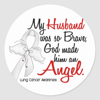 Angel 2 Husband Lung Cancer Stickers