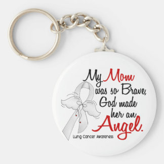 Angel 2 Mom Lung Cancer Basic Round Button Key Ring