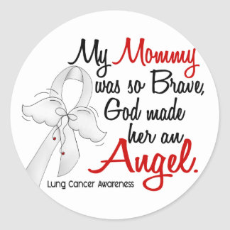 Angel 2 Mommy Lung Cancer Classic Round Sticker