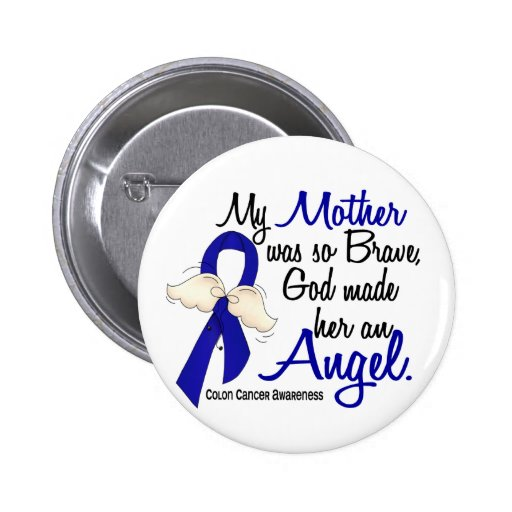 Angel 2 Mother Colon Cancer Buttons