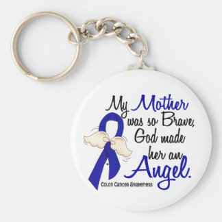 Angel 2 Mother Colon Cancer Basic Round Button Key Ring