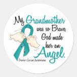 Angel 2 Ovarian Cancer Grandmother Round Stickers