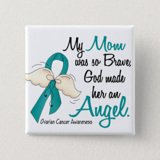 Angel 2 Ovarian Cancer Mom 15 Cm Square Badge