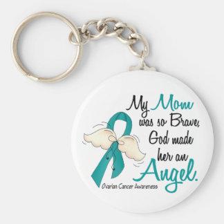 Angel 2 Ovarian Cancer Mom Key Ring