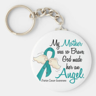 Angel 2 Ovarian Cancer Mother Basic Round Button Key Ring
