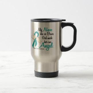 Angel 2 Ovarian Cancer Niece 15 Oz Stainless Steel Travel Mug