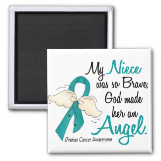 Angel 2 Ovarian Cancer Niece Square Magnet