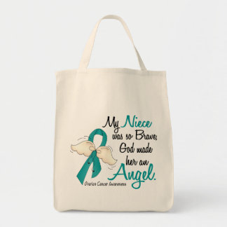 Angel 2 Ovarian Cancer Niece Grocery Tote Bag