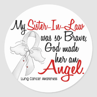Angel 2 Sister-In-Law Lung Cancer Round Sticker