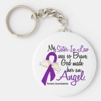 Angel 2 Sister-In-Law Pancreatic Cancer Basic Round Button Key Ring