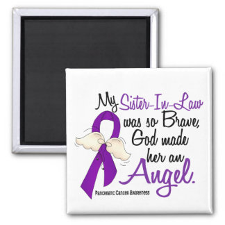 Angel 2 Sister-In-Law Pancreatic Cancer Square Magnet