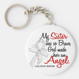 Angel 2 Sister Lung Cancer Basic Round Button Key Ring